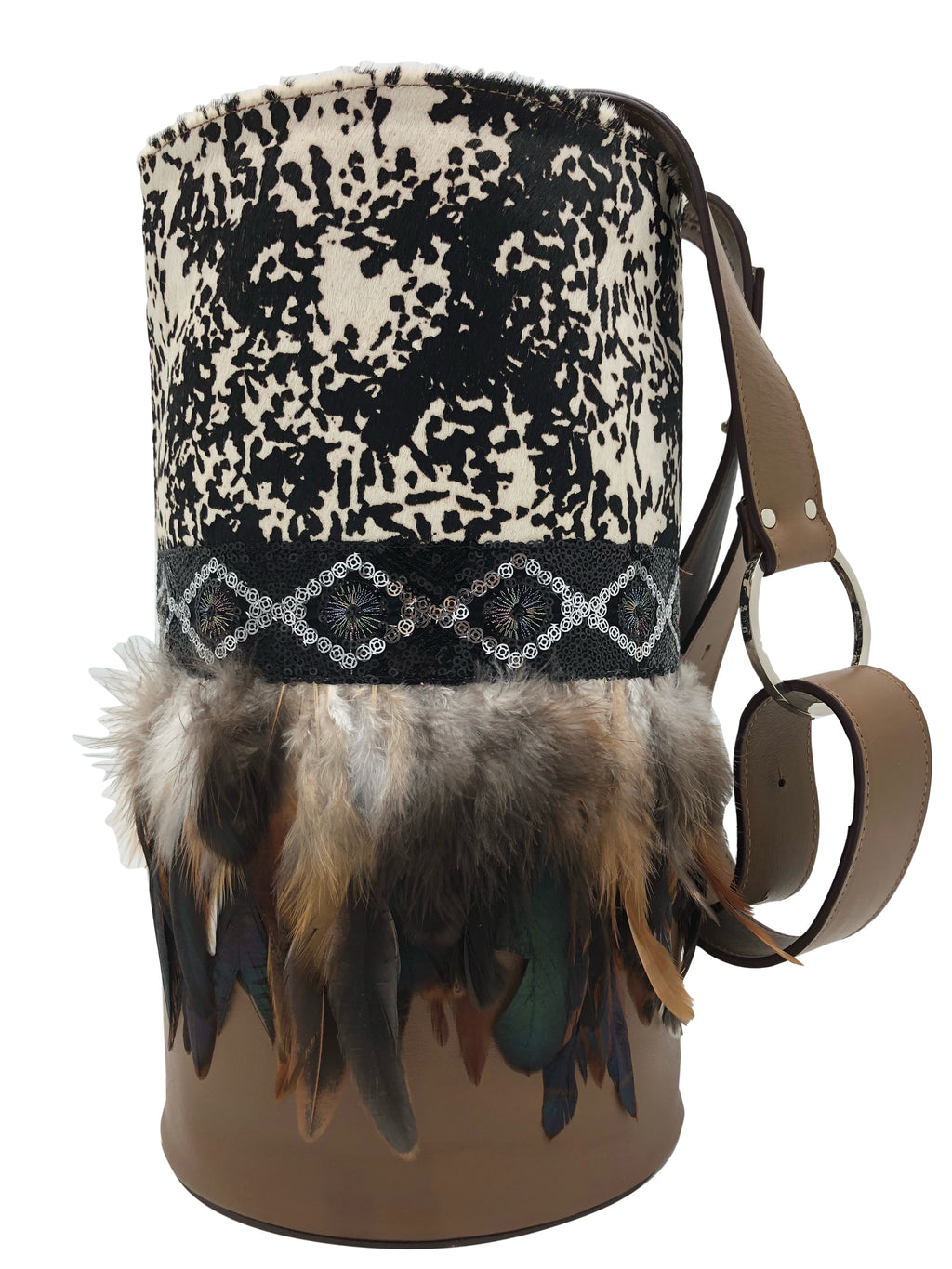 Cow pattern haircalf & brown leather bag with sequins and feathers.