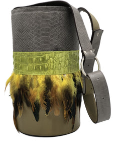 Embossed gray & green leatherbag with feathers.