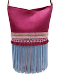 Scales embossed pink & pale pink leather bag with fringes.