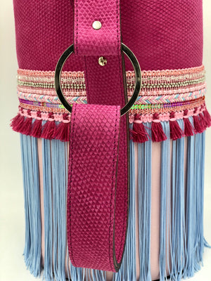 "Scales embossed pink & pale pink leather bag with fringes. ""The Strings Of Happiness""."