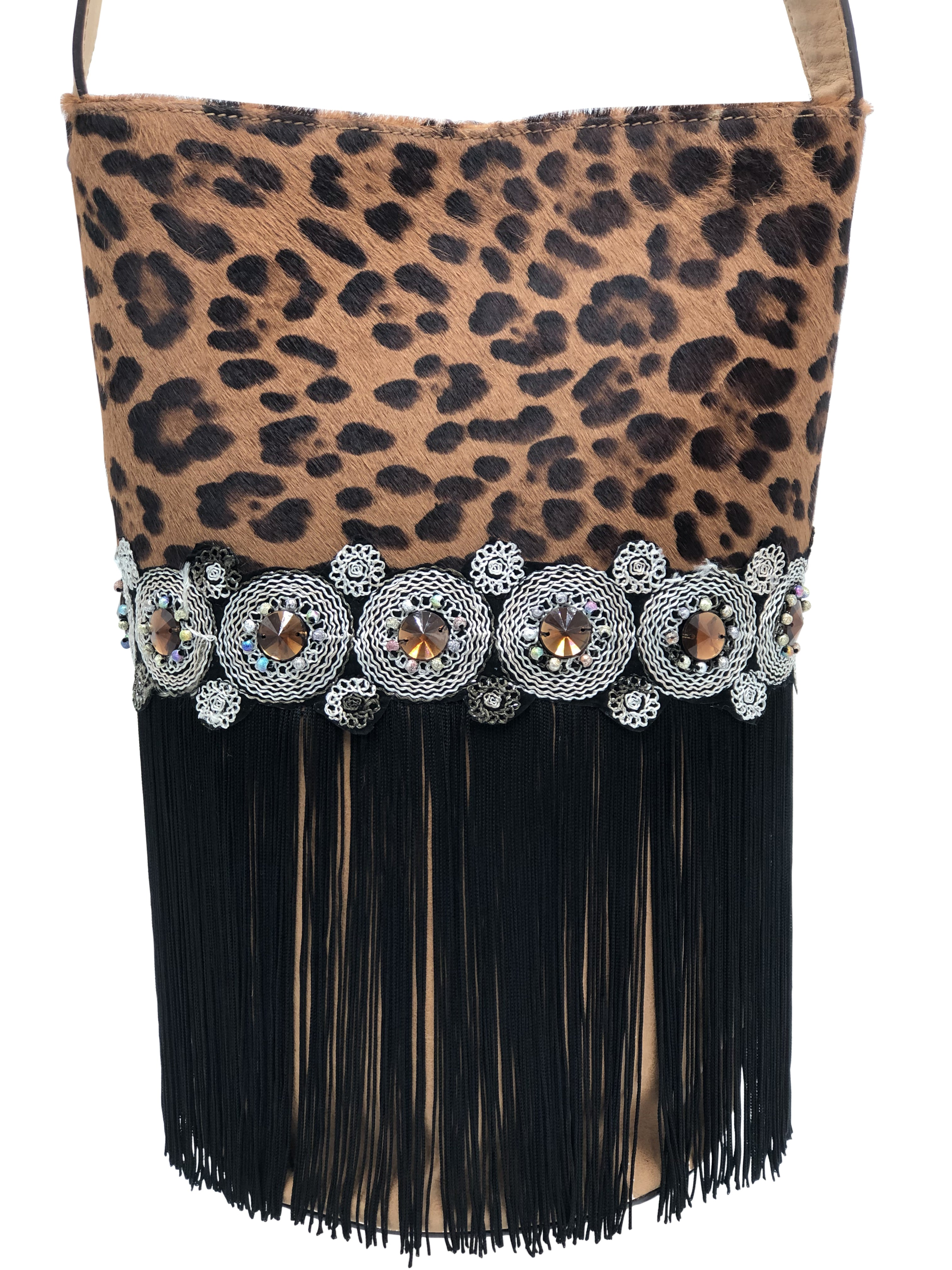 Leopard pattern haircalf & light brown leather  bag with stones and fringes