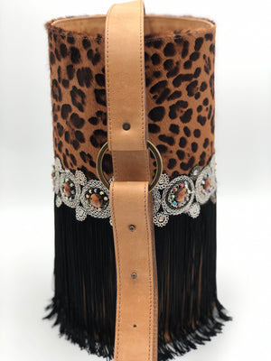 "Leopard pattern haircalf & light brown leather  bag with stones and fringes. ""Dusk""."