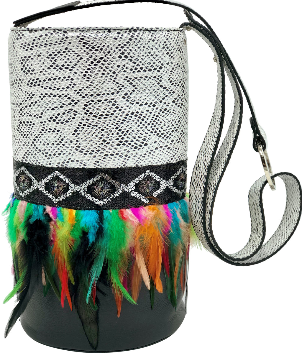 White & Black embossed leather bag with feathers.