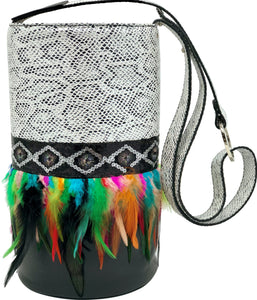 "White & Black embossed leather bag with feathers. ""Kaleidoscope""."