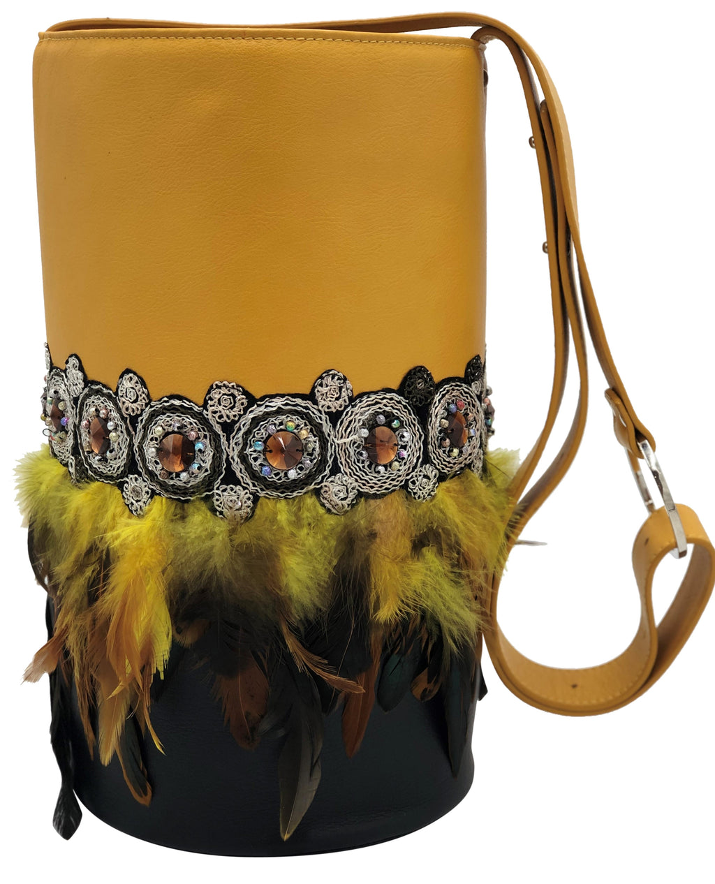 Yellow & black leather bag with feathers