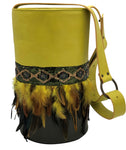 Neon yellow & green leather bag with feathers