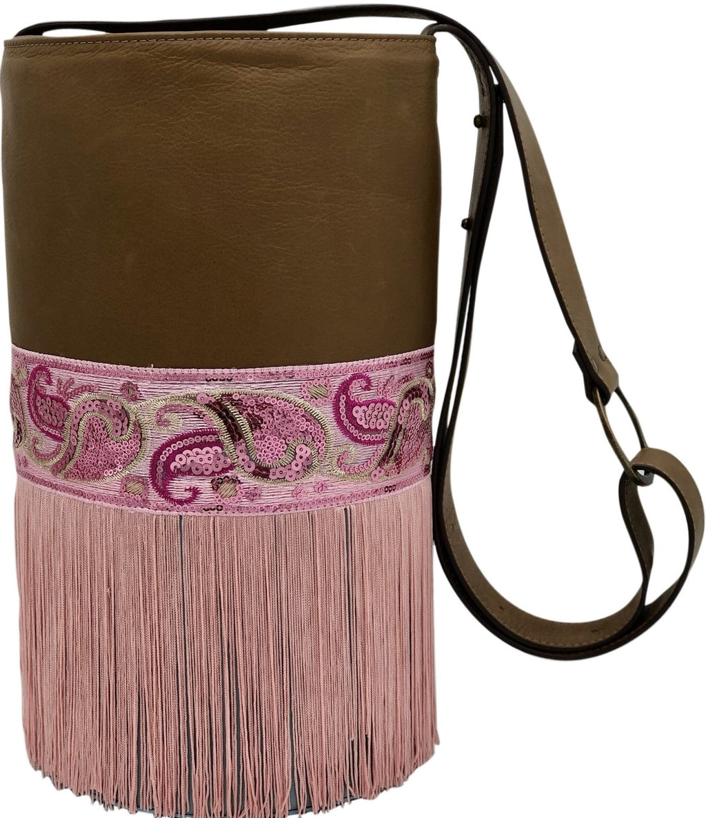"Brown & blue leather bag with sequins and fringes. ""Fairies Dance""."