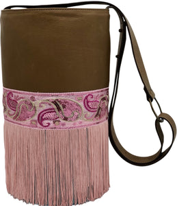 Brown & blue leather bag with sequins and fringes.