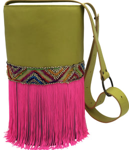 "Neon yellow & blue leather bag with neon pink fringes. ""Neon Rainbow"" ."