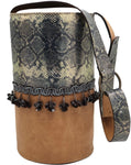 Engraved golden, dark grey & light brown leather bag with tassels