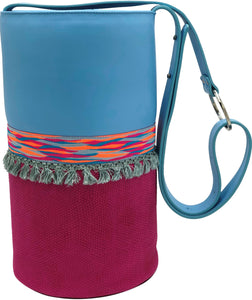 "Blue & scales embossed pink leather bag with tassels. ""Serendipity""."
