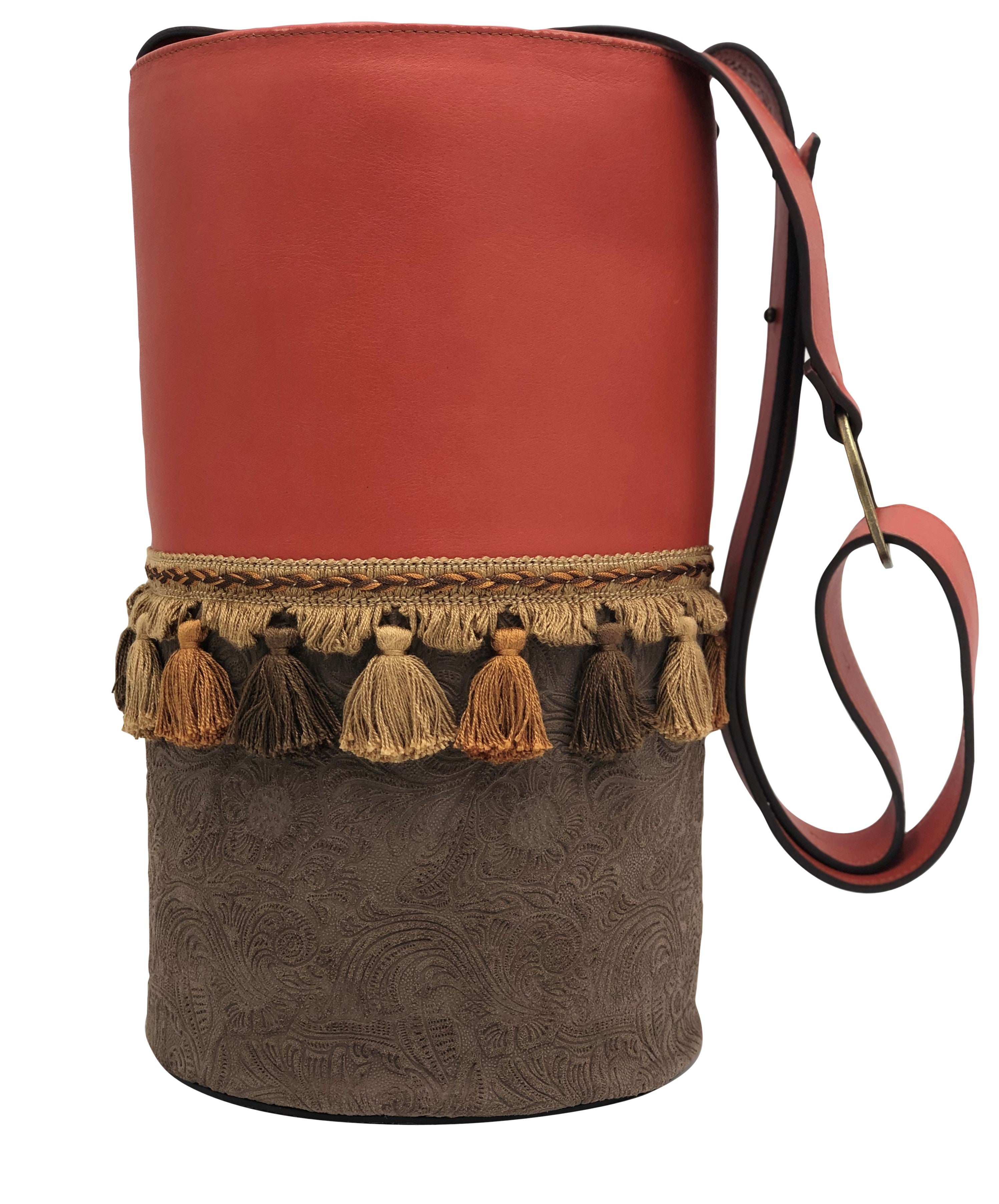 "Red & engraved brown leather bag with tassels. ""Hibiscus bond""."