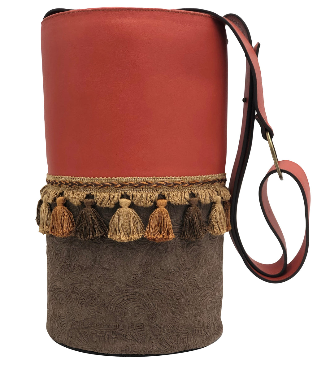 Red & engraved brown leather bag with tassels.