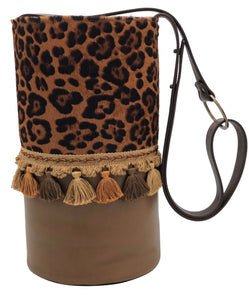Leopard pattern haircalf & light brown leather bag with tassels