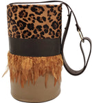 Haircalf, chocolate & light brown leather bag with feathers