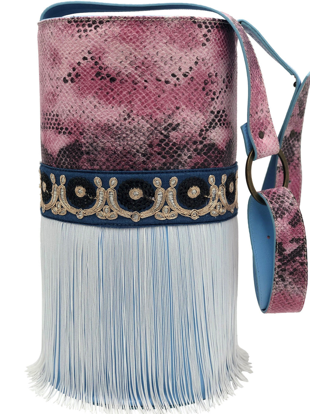 Pink & black snake-like engraved and blue leather bag with fringes.