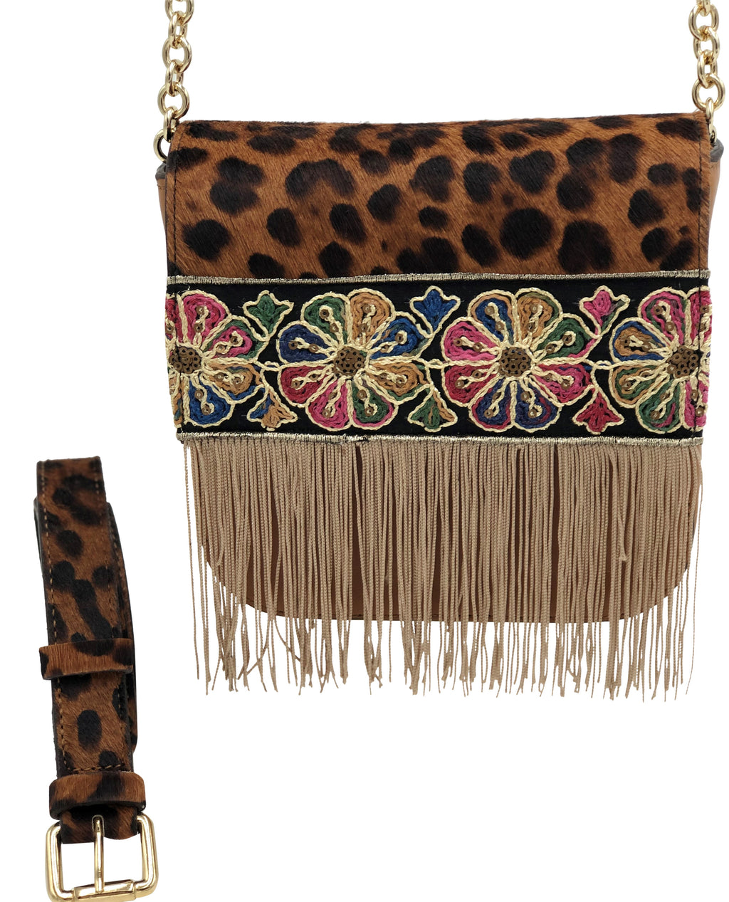 Leopard haircalf & camel leather bag with fringes