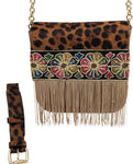 "Leopard haircalf & camel leather bag with fringes. ""Flora and Fauna"" ."