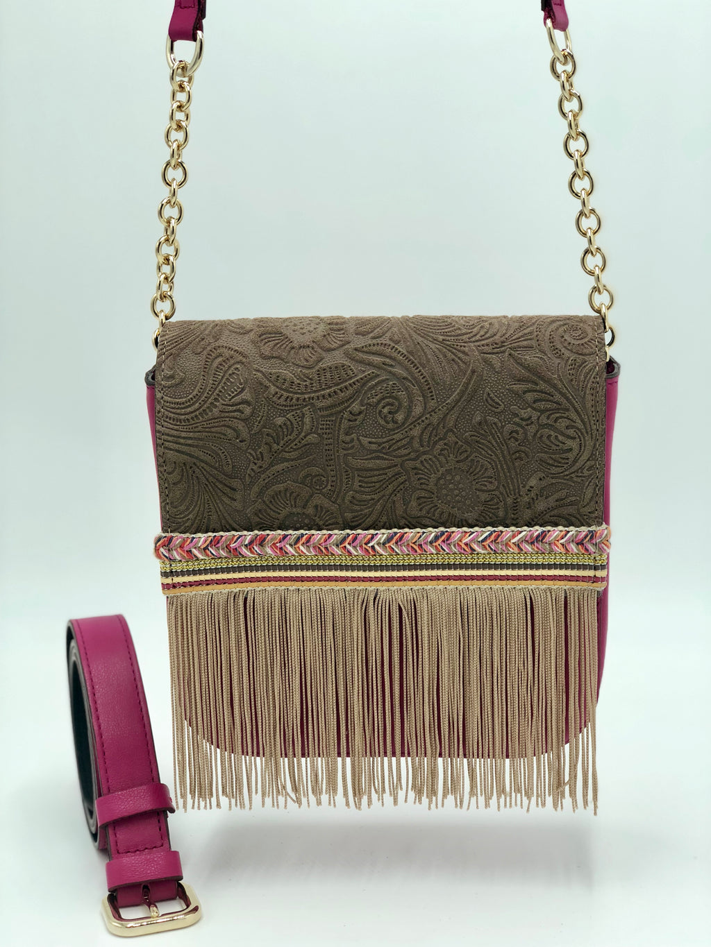 Pink and brown embossed leather bag with fringes