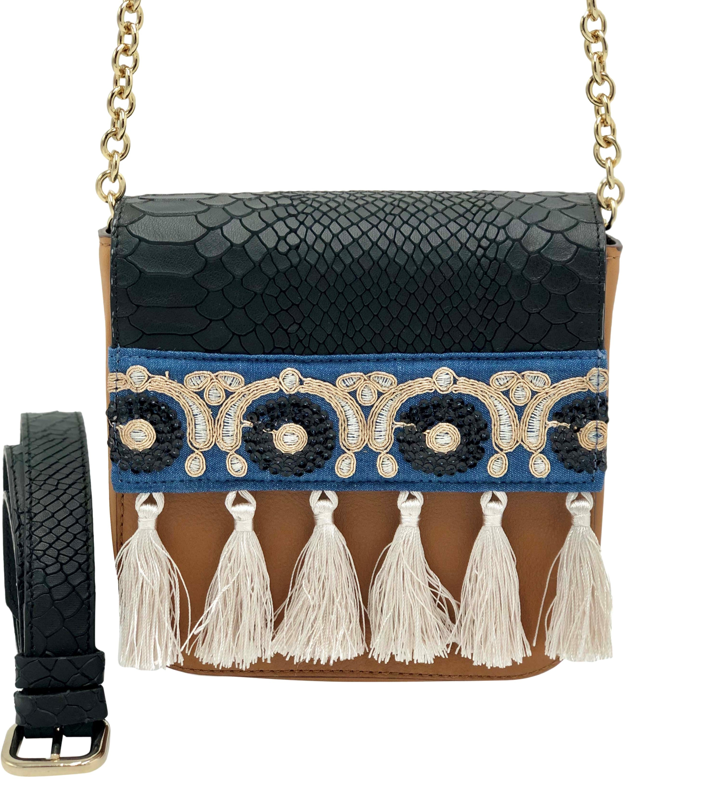 Embossed black & light brown leather bag with tassels