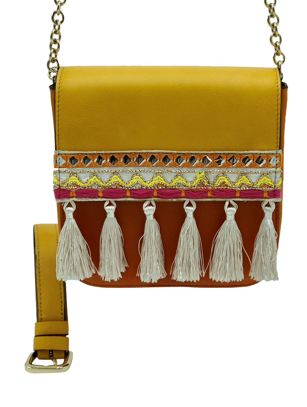 Yellow & Orange leather bag with tassels