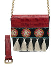 Embossed red & black leather bag with tassels