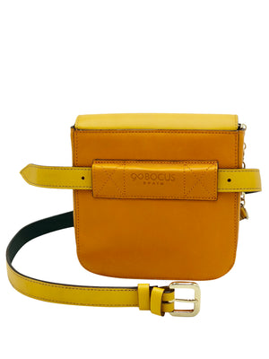 "Yellow & Orange leather bag with tassels. ""Let's Play""."