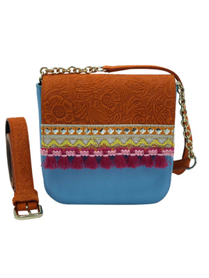 "Embossed orange & blue leather bag with tassels. ""Cholula""."