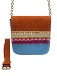 Embossed orange & blue leather bag with tassels