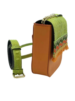 Embossed lime green & orange leather belt bag