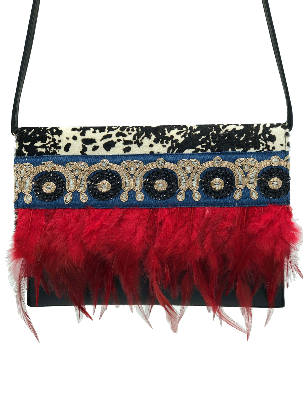 "Black and White haircalf & black leather clutch with red feathers.  ""Renaissance""."