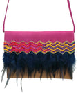 "Embossed pink & light brown leather bag with feathers.  ""Waves"" ."