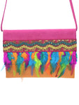 Embossed pink & orange leather clutch with neon feathers