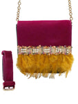 Fuchsia haircalf & green leather belt bag with feathers
