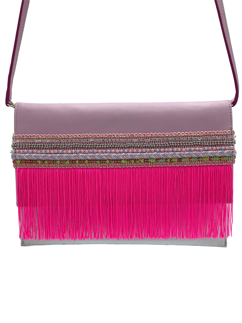 "Pink & white leather clutch with fringes. ""Path to sweetness""."