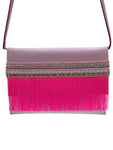 Pink & white leather clutch with fringes