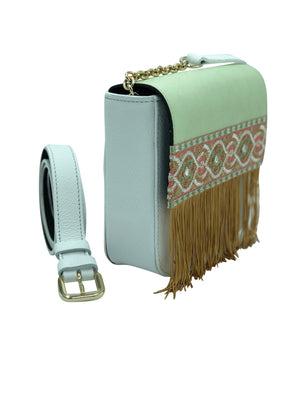 Pale green and white leather bag with fringes