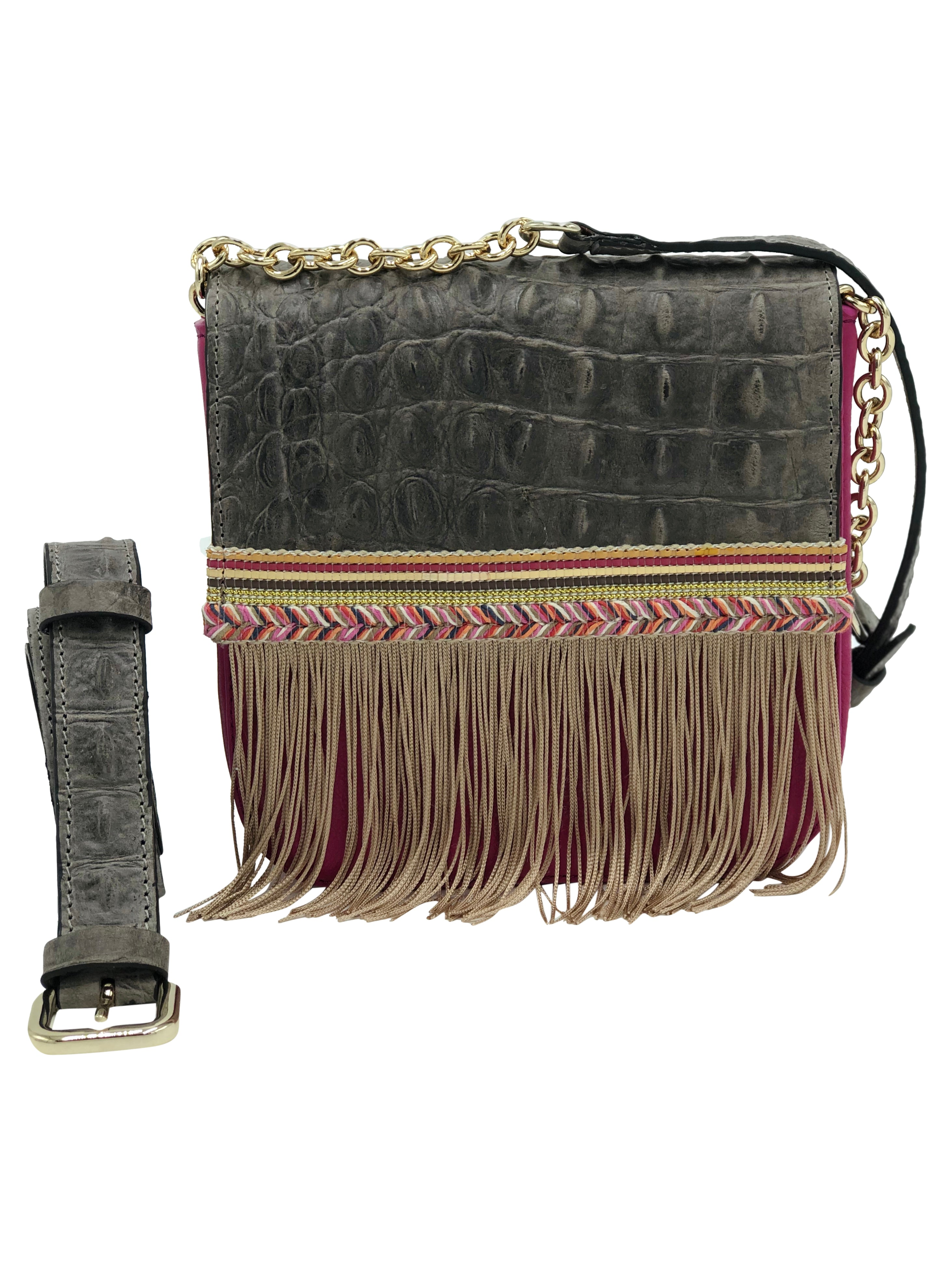 "Pink and grey embossed leather bag with fringes.  ""Into The Forest"""