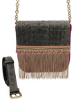 Pink and grey embossed leather bag with fringes
