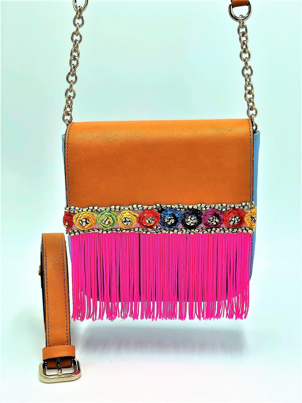 Orange and blue leather belt bag with neon pink fringes