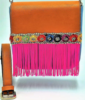 "Orange and blue leather belt bag with neon pink fringes. ""Orange Fountain""."