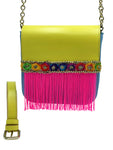 "Neon yellow & blue belt bag with neon  fringes. ""Fountain""."