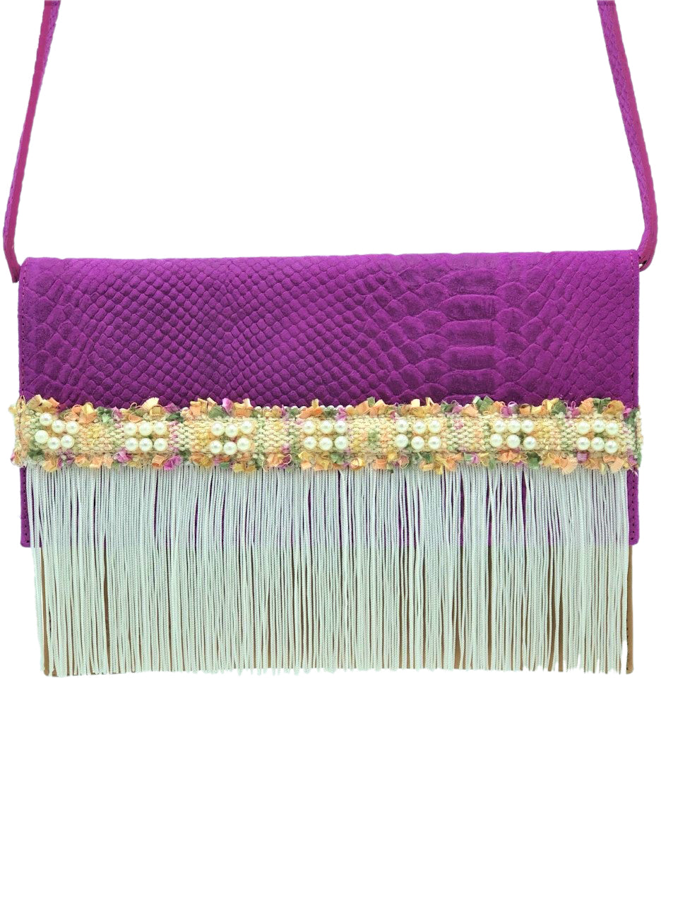 "Embossed purple & camel leather clutch with fringes. ""Light Spirit""."