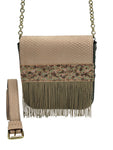 Embossed pale pink & grey leather belt bag with fringes