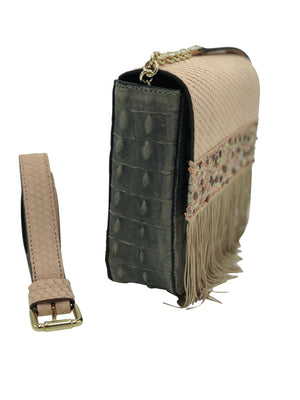 "Embossed pale pink & grey leather belt bag with fringes. ""Origin""."