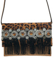 leopard print haircalf & light brown leather clutch