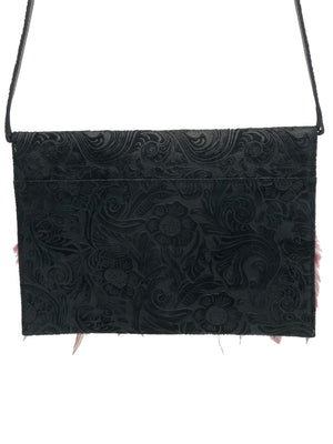 Flowers embossed black & gray leather clutch with feathers