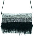 Embossed black, white and silver leather clutch with feathers