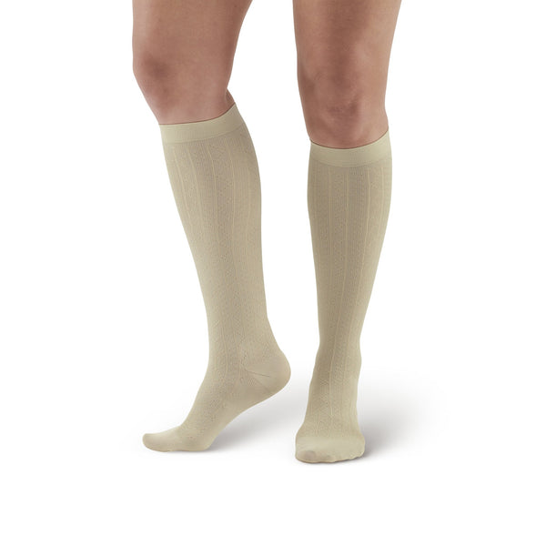 AW Style 109A Women's Patterned Knee High Dress Socks - 15-20 mmHg