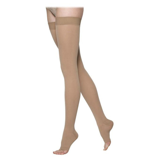 Sigvaris Essential 863 Opaque Open Toe Thigh Highs w/Grip Top - 30-40 mmHg
